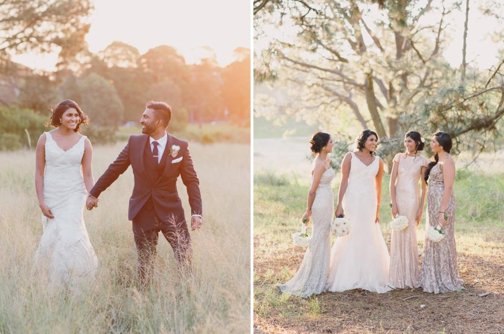 Sunset Golden Hour Wedding Portraits and White Runway Bridesmaids