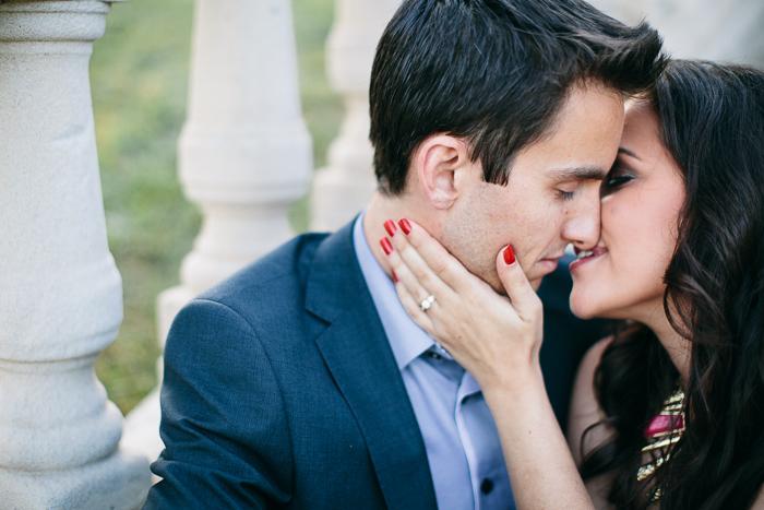 engaged-couple-kiss-at-yaralla-estate