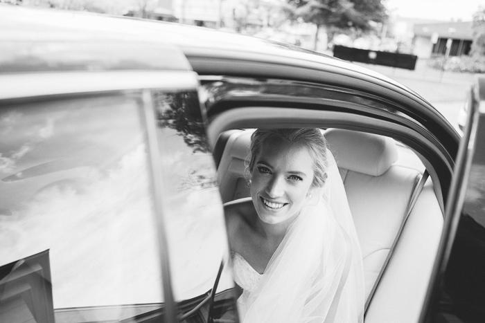 Bride Arrives in Jaguar