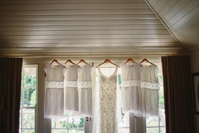 ivory lace wedding dress at bendooley cottage