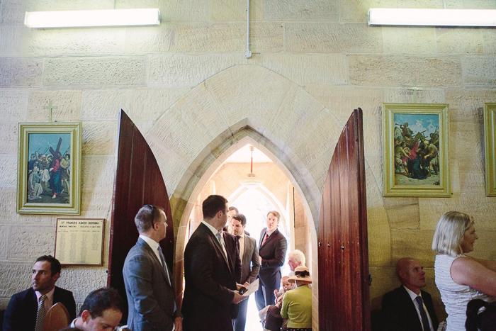 Guests enter sandstone church in Berrima