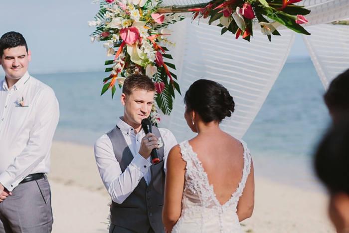 Groom reciting Vows at Fiji Wedding
