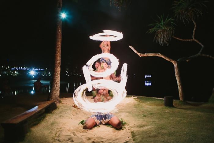 Fiji wedding performance with Fire