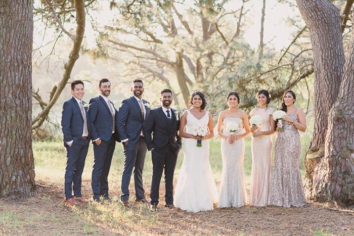 Backlit bridal party at Centennial Park