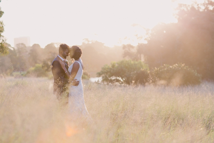 Pretty backlit romantic wedding photography