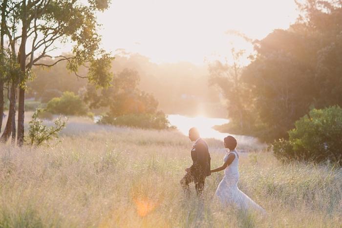 Bride and Groom stroll through Centennial Park