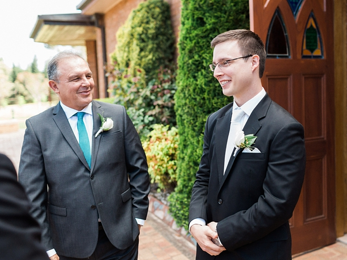 groom awaits bride at catholic bowral wedding