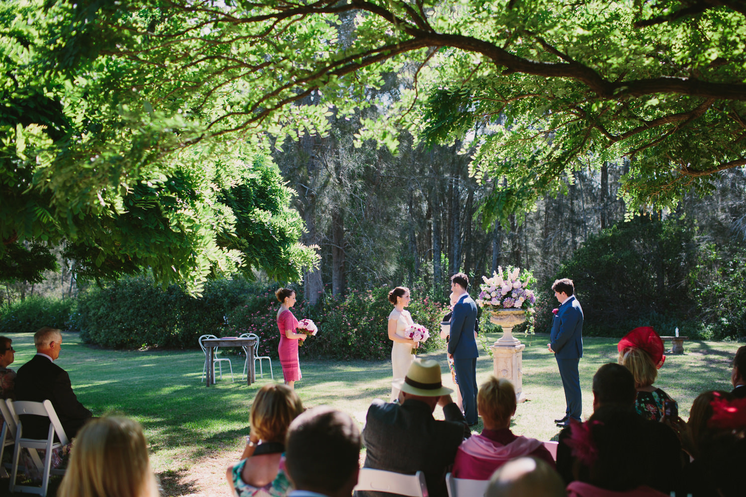 Wedding Ceremony under the trees at Circa 1876