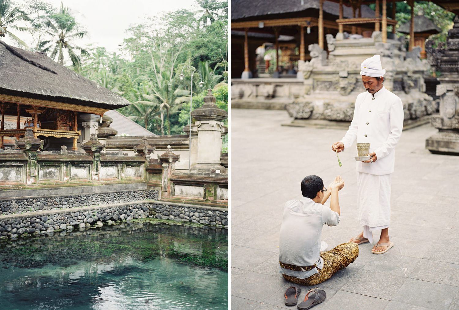 traditional prayers in bali temple by hindu priest