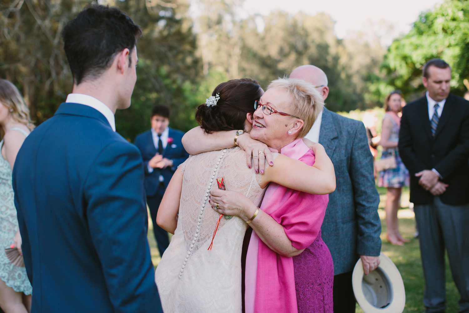 Intimate embrace from guest at Wedding in the Hunter Valley