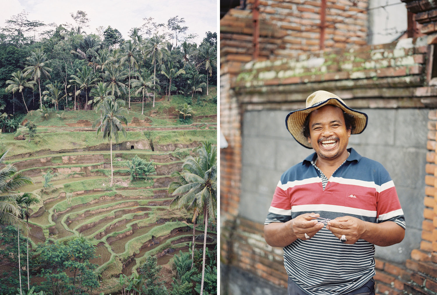 friendly balinese locals at tegalalang rice terrace