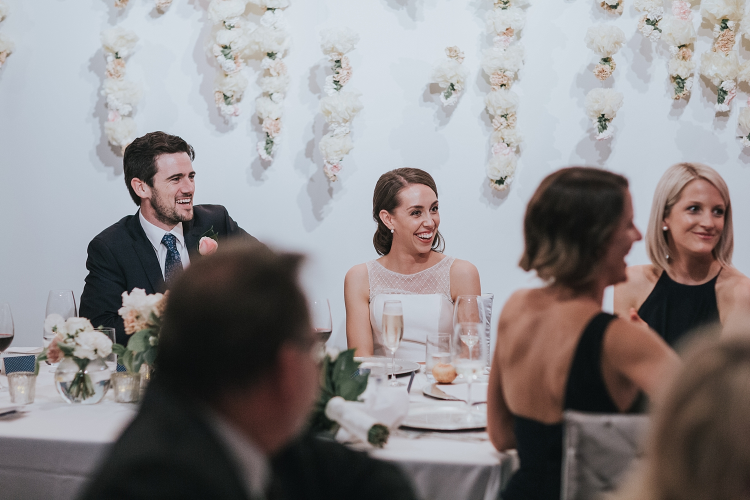 sydney wedding couple laughing at speeches