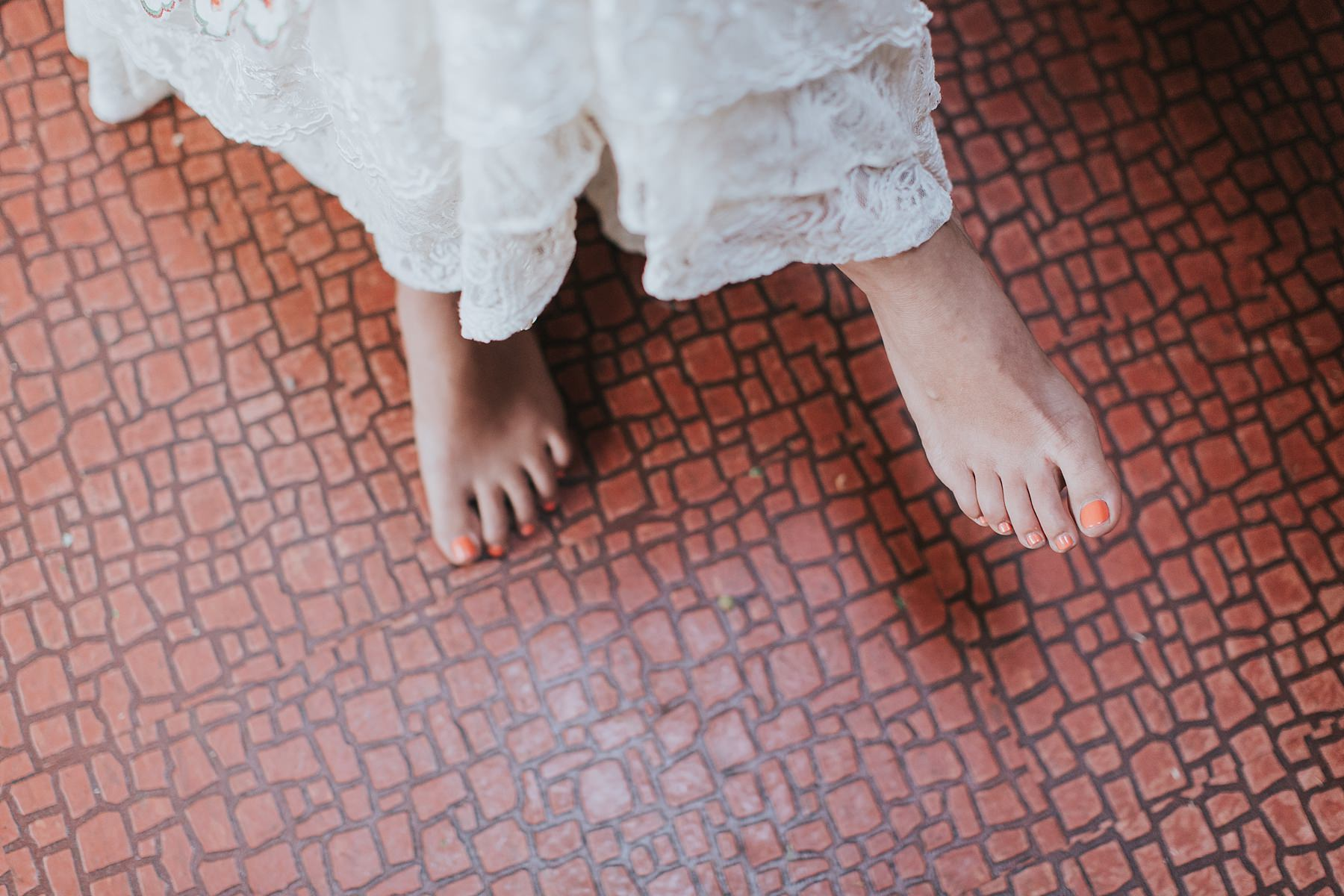 brides toepolish matches the tiles
