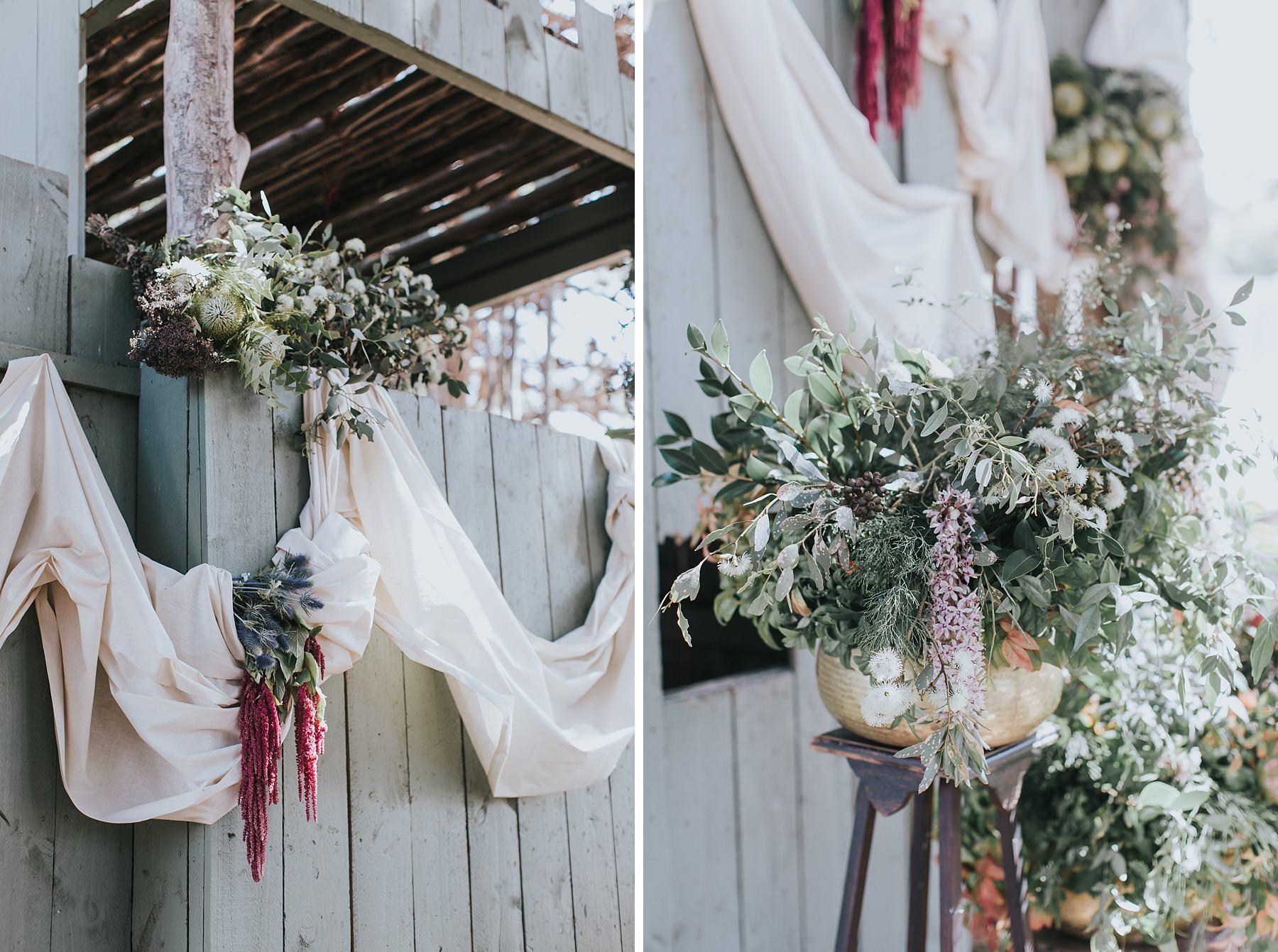 boho wedding fort styling