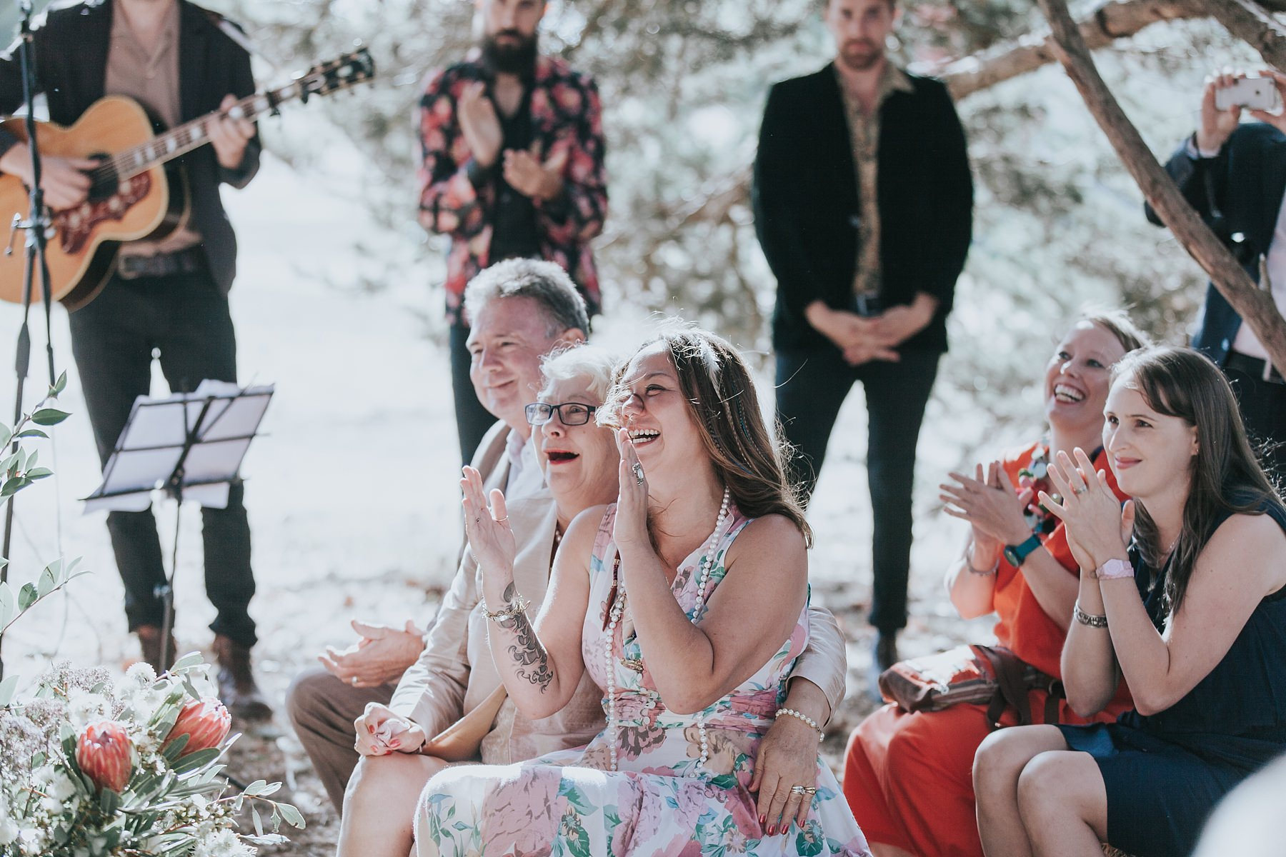 narnu farm wedding guests excited to celebrate