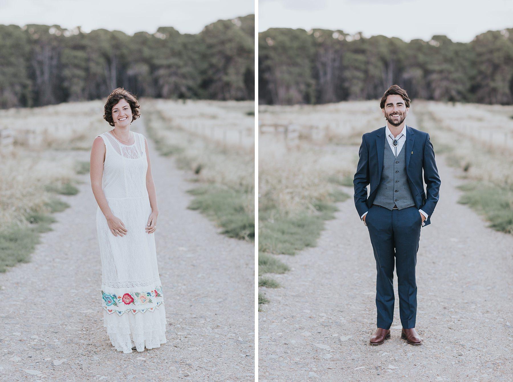 boho bride and groom styling