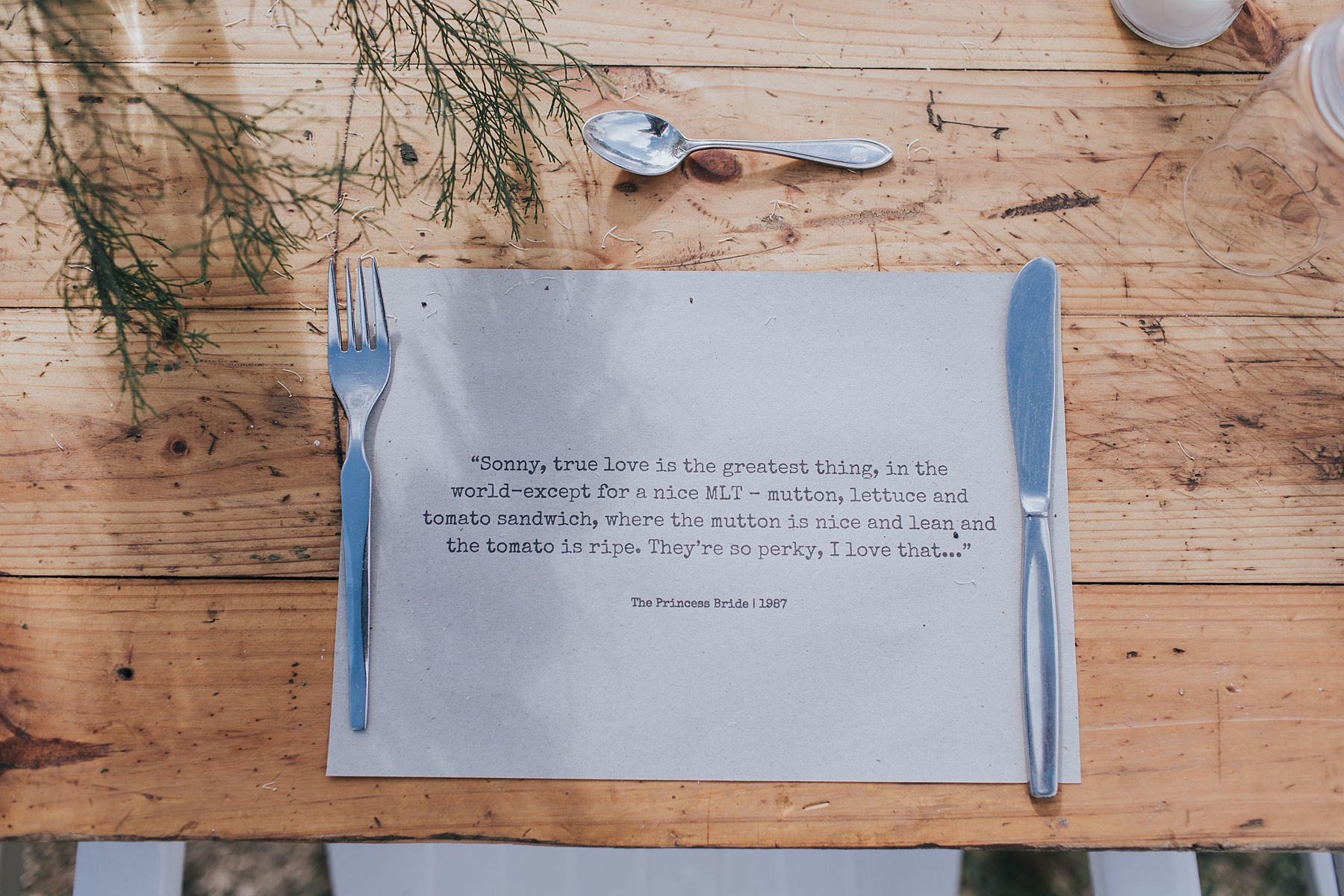 placemats at narnu farm with quotes about love