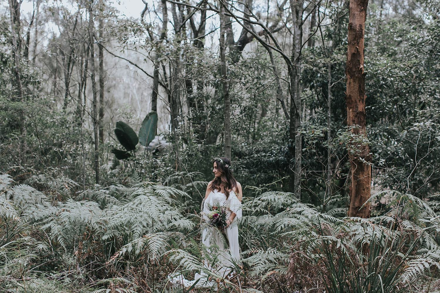boho bride in grace loves lace in the forest