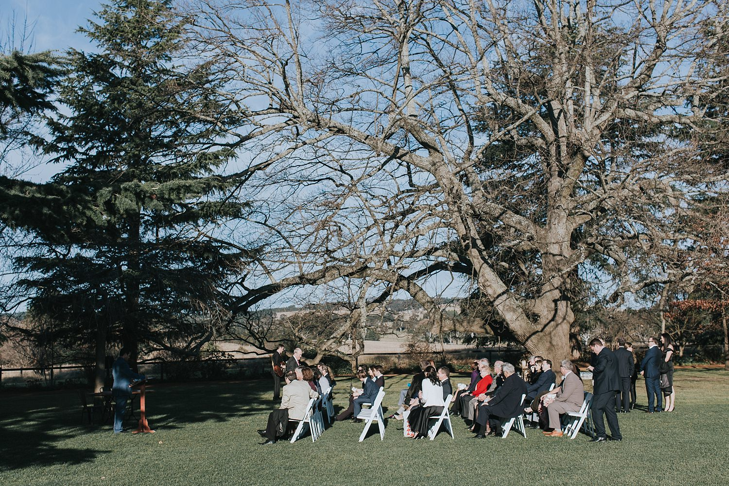 guests seated on the lawn at bendooley estate
