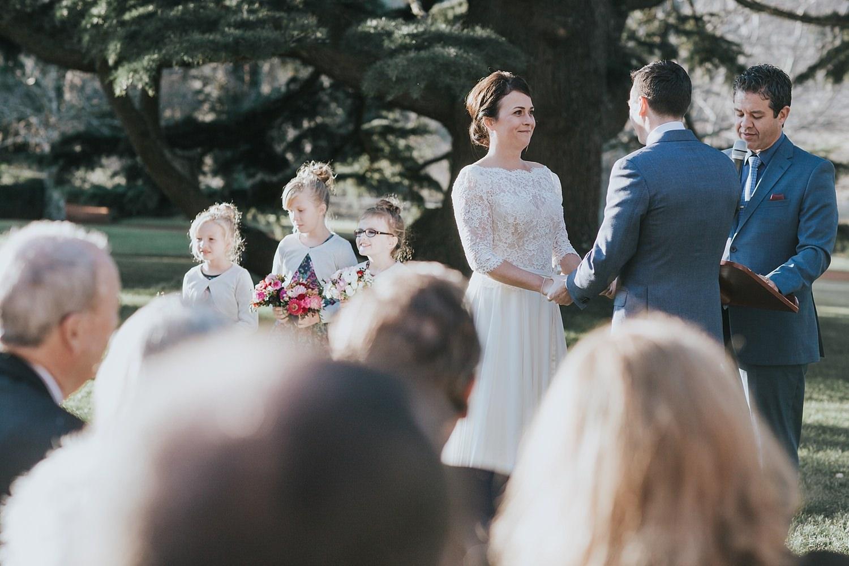 bride and groom exchange vows at bendooley ceremony