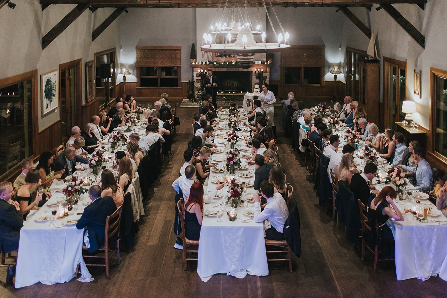guests seated for wedding reception speeches in bowral