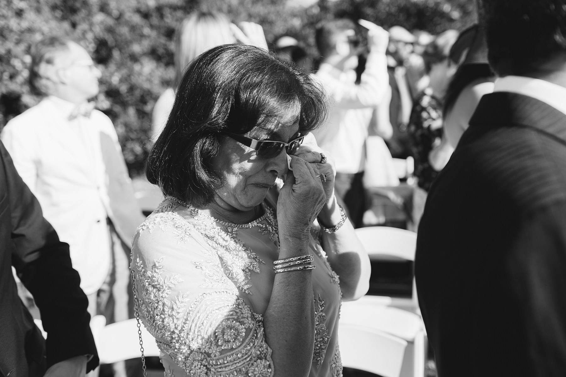 emotional mother of the groom on wedding day