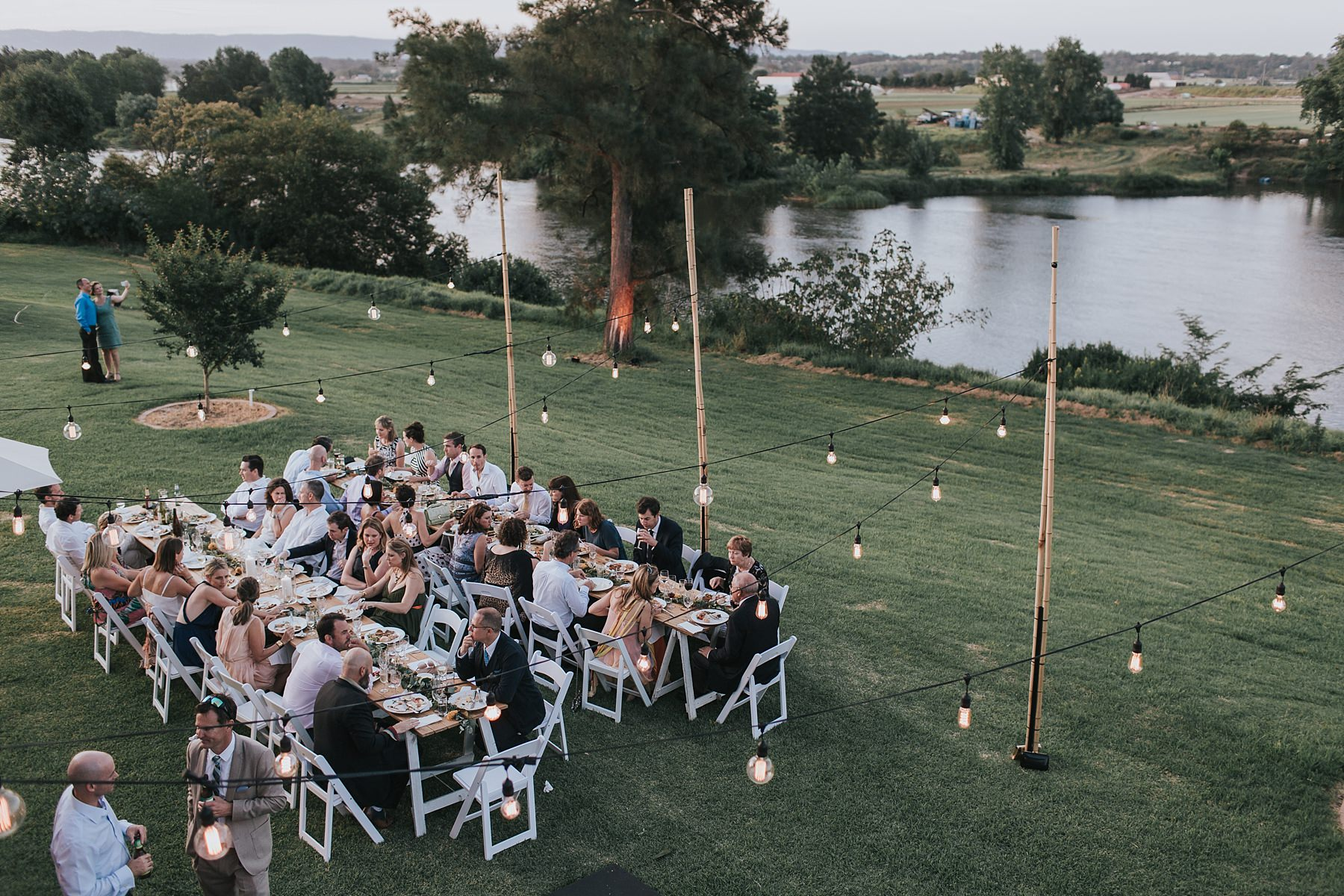outdoor wedding reception at cornwallis house by jonathan david