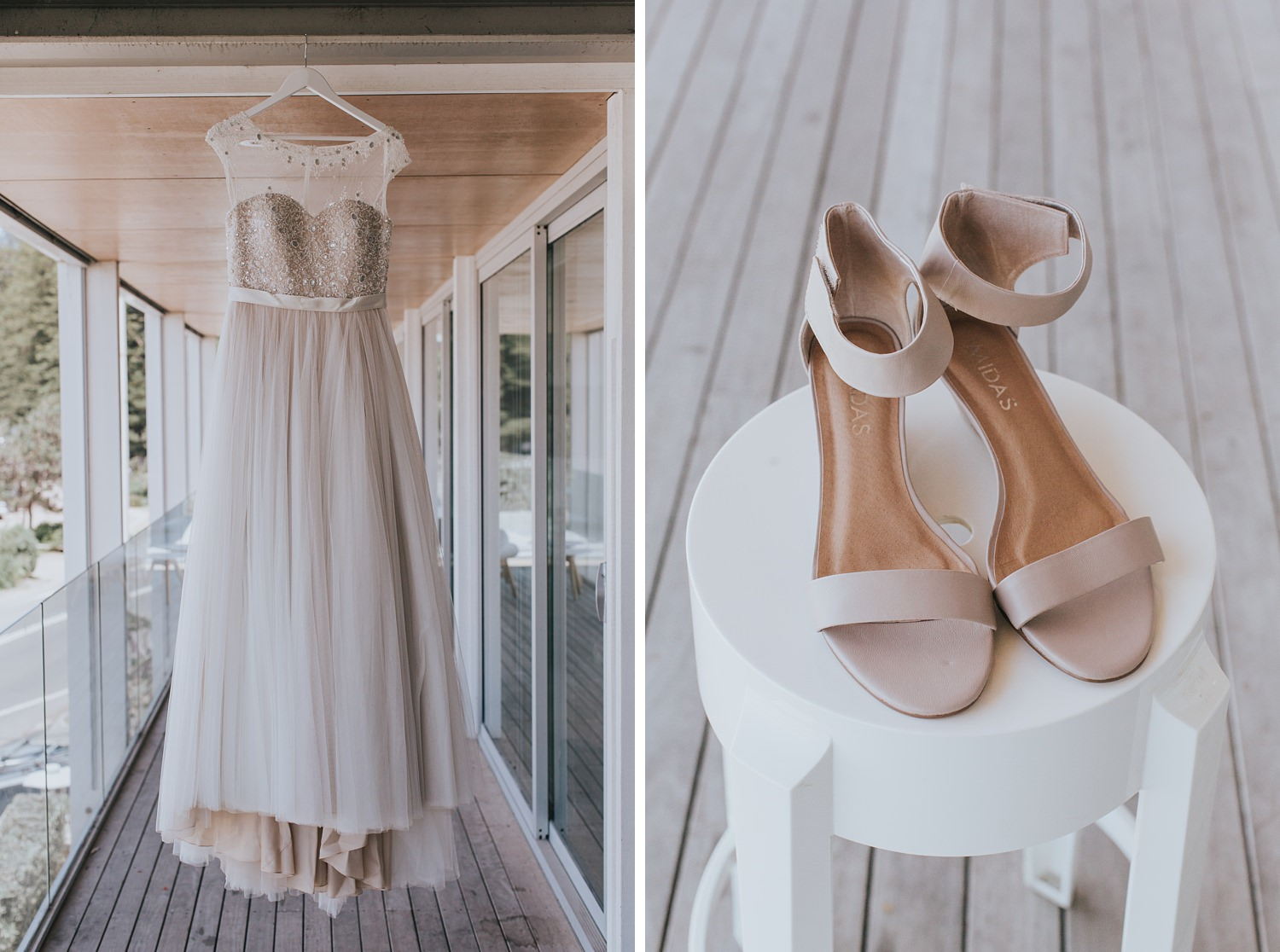 brides dress and shoes for palm beach wedding