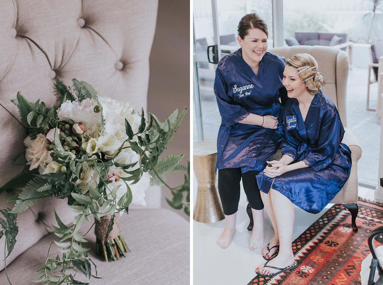 bouquet and bride prep before fairground follies