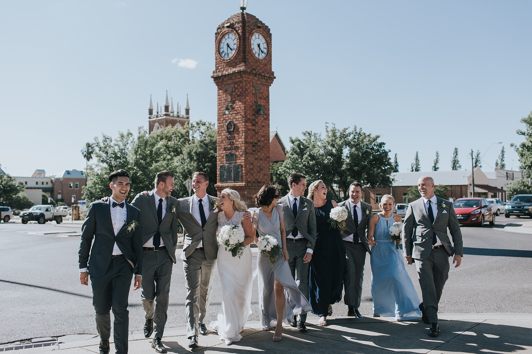 bridal party walking through mudgee town centre