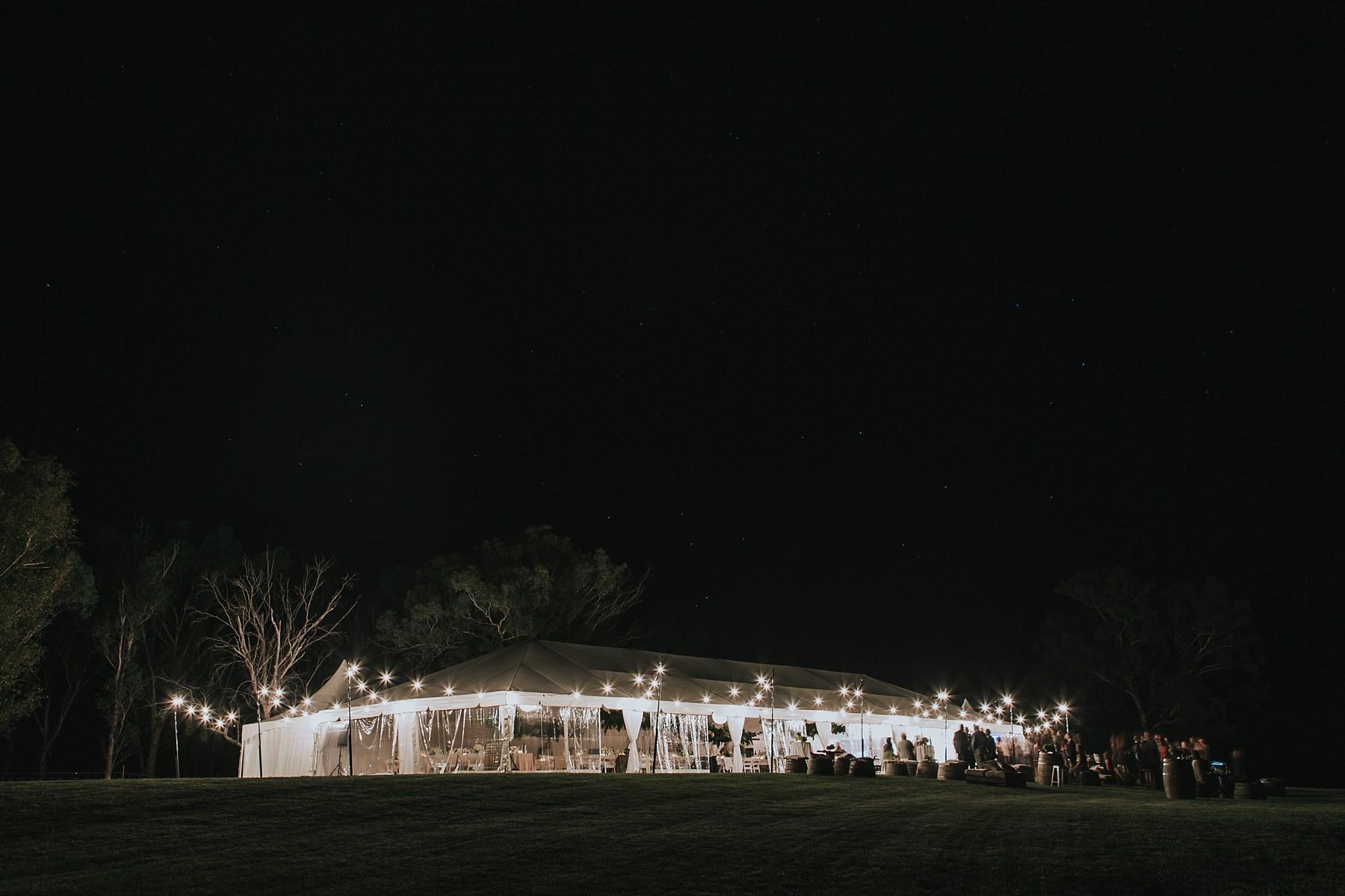 mudgee wedding reception marquee night time