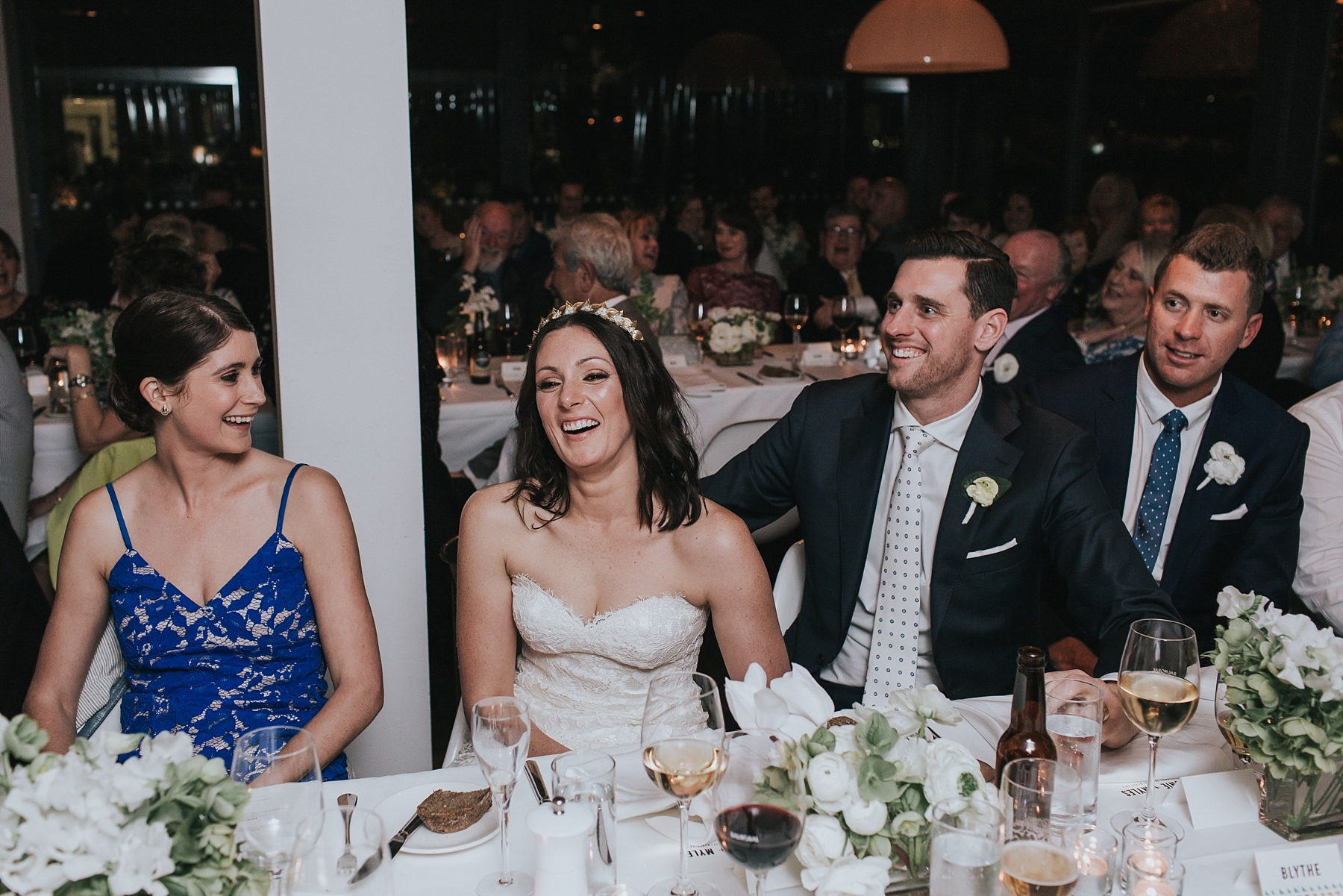 happy bride and groom at sydney wedding reception