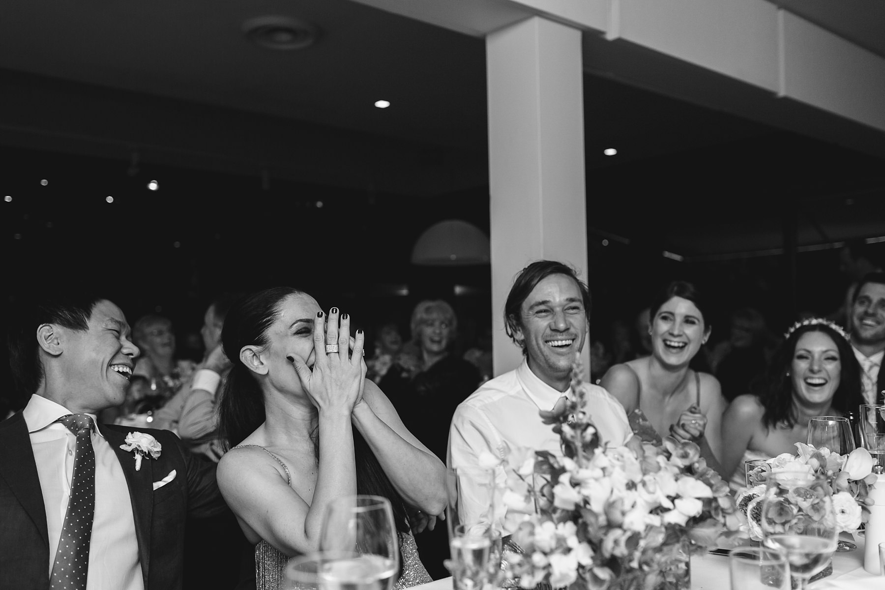 laughter at sydney wedding at the public dining room