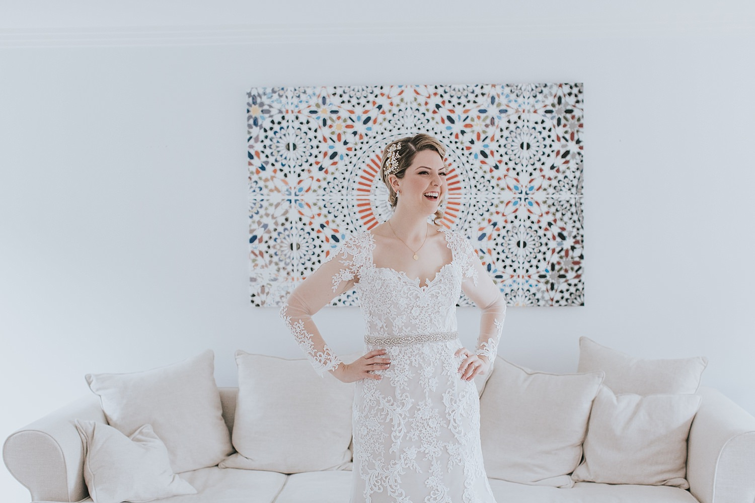timeless wedding bride wearing lace gown
