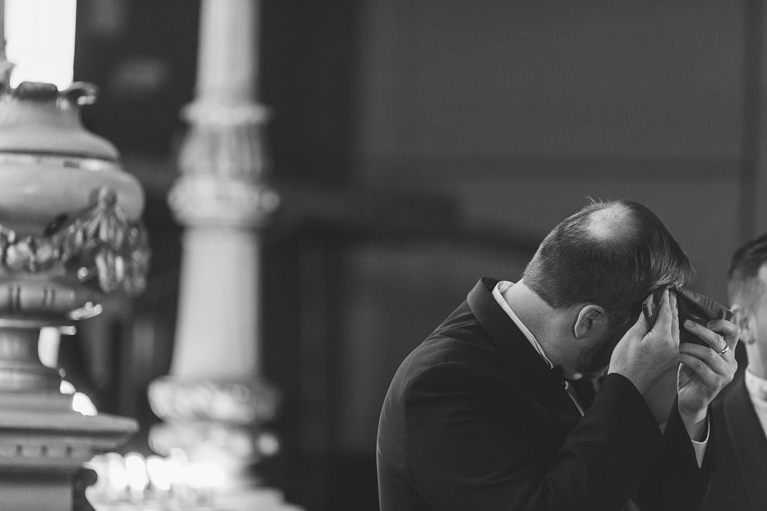 nervous groom anxious for his bride to arrive at sydney wedding