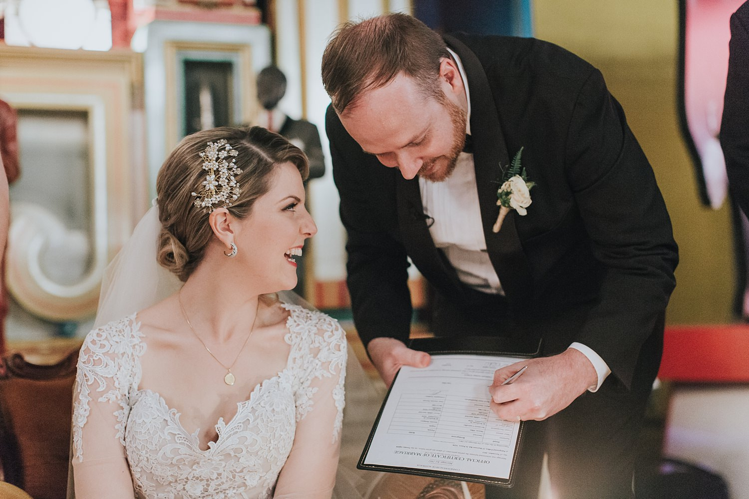 signing the marriage register in sydney wedding