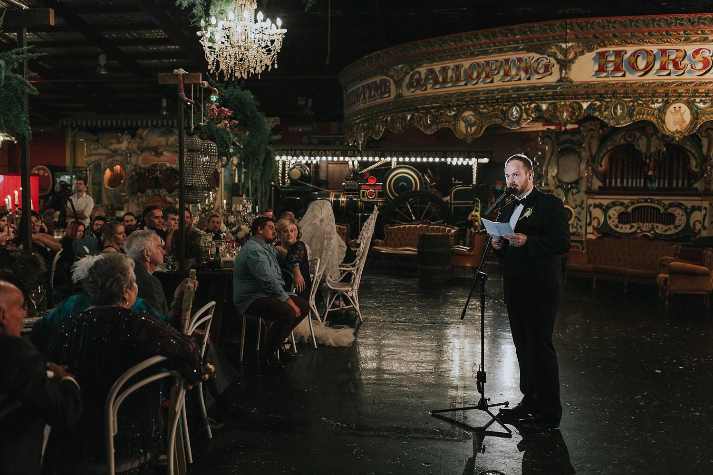 groom speech at fairground follies