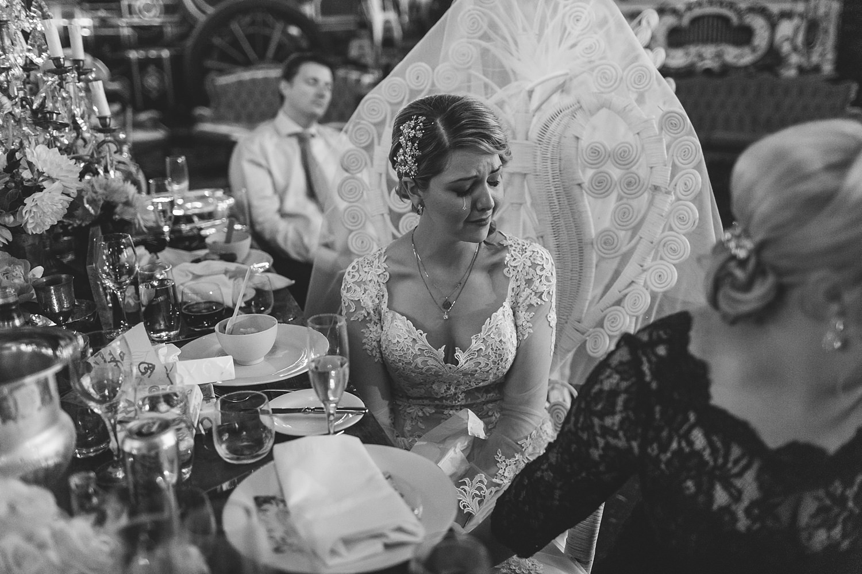 emotional bride sheds a tear during grooms speech in sydney