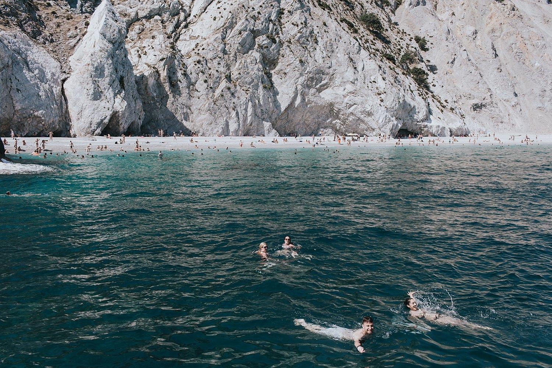 swimming to lalaria on skiathos