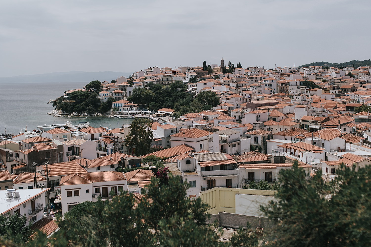 skiathos old town from the church