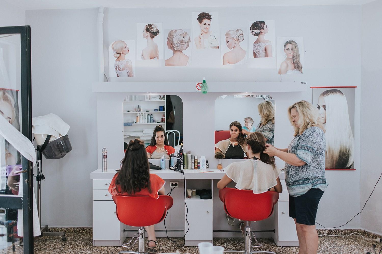 hair and makeup studio in skiathos on wedding morning