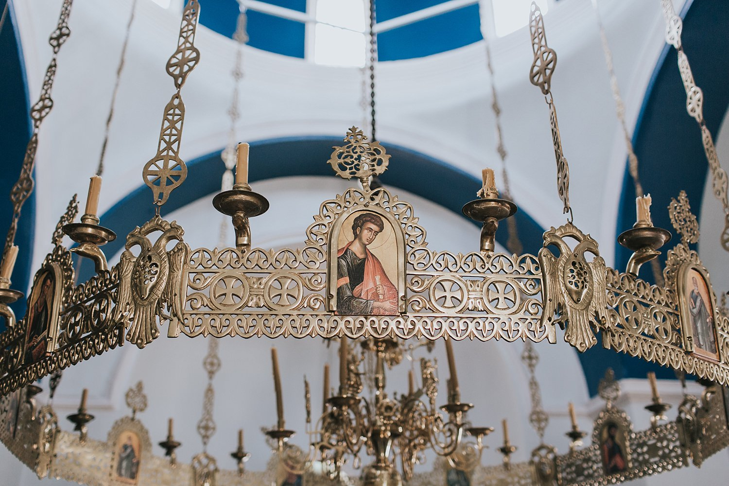intricate details in the greek orthodox church in skiathos