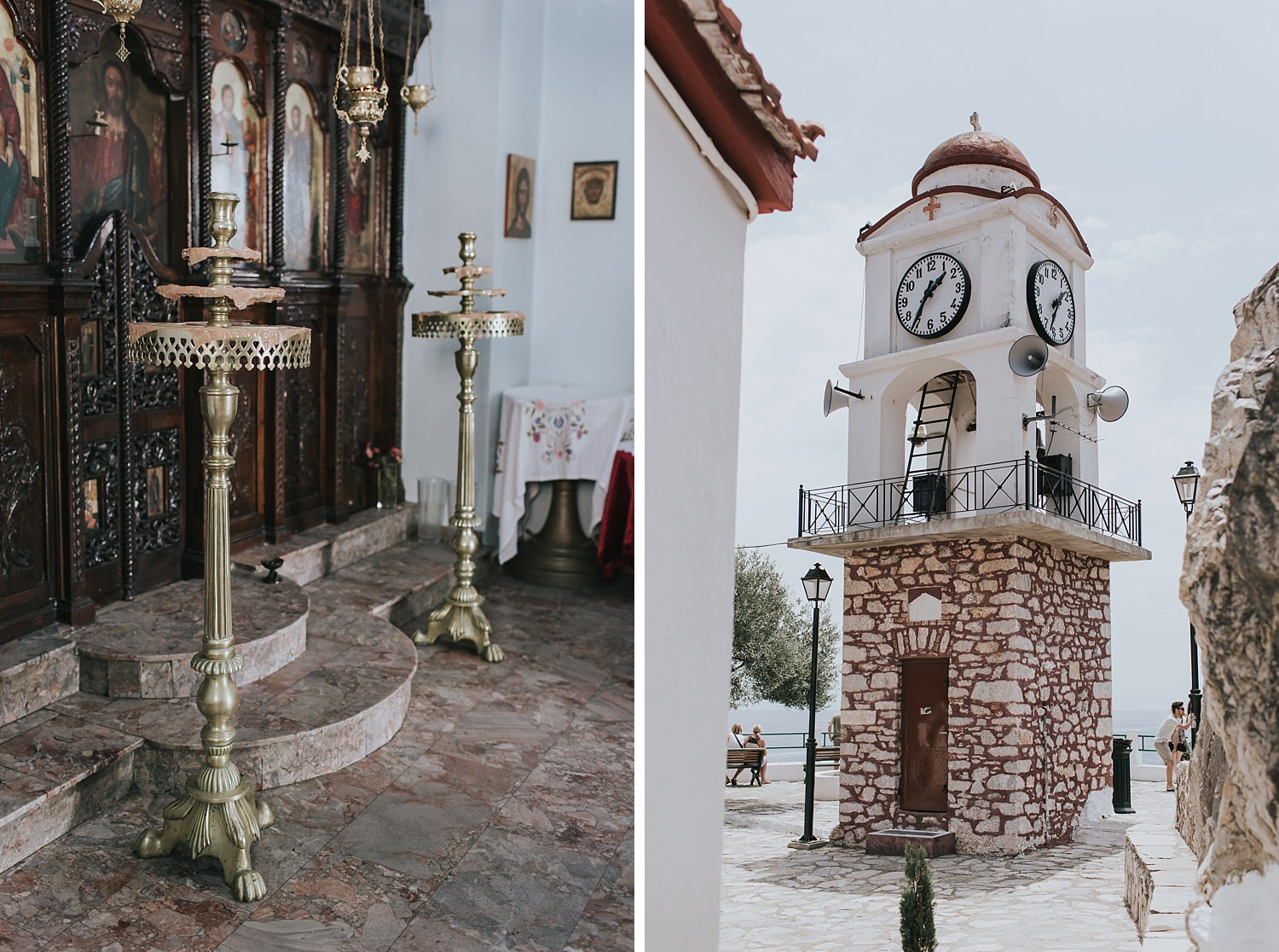 bell tower and gold candle stands in orthodox church in skiathos