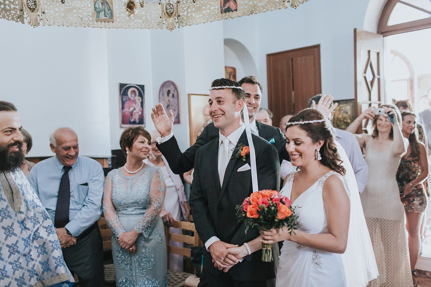 orthodox crowns during marriage rite in skiathos