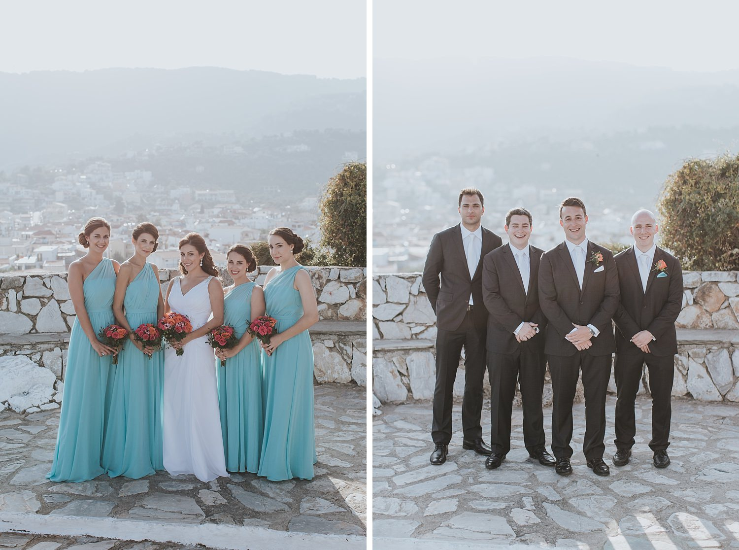 groomsmen and bridesmaids in skiathos greek islands