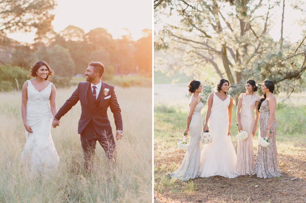 Sunset Golden Hour Wedding Portraits and White Runway Bridesmaids