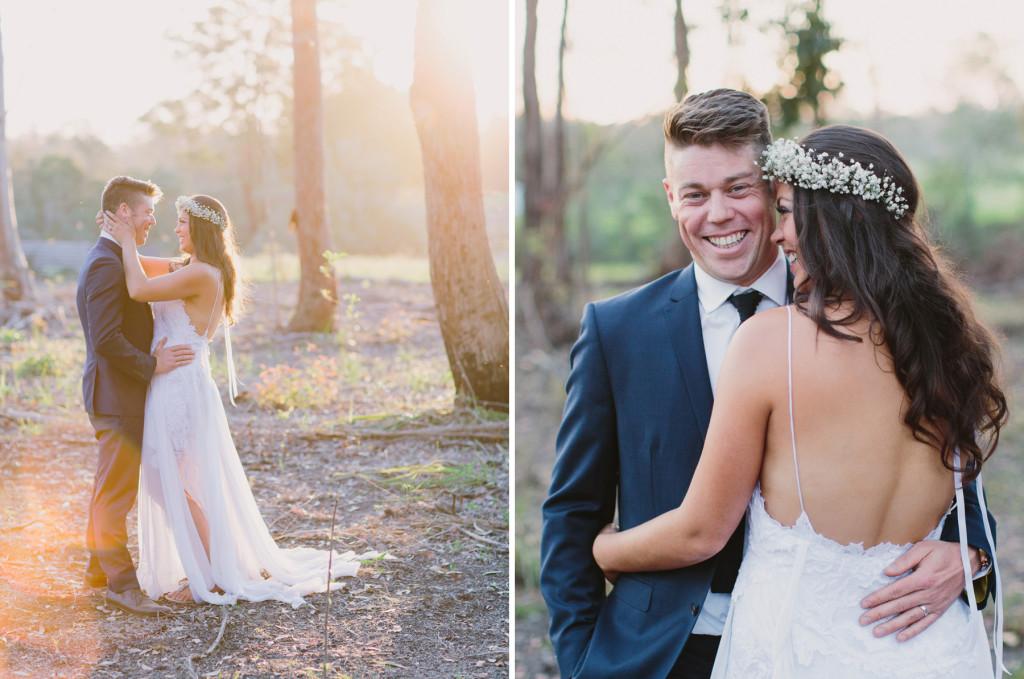 Sunset Farm Wedding Photography with bride wearing Grace Loves Lace