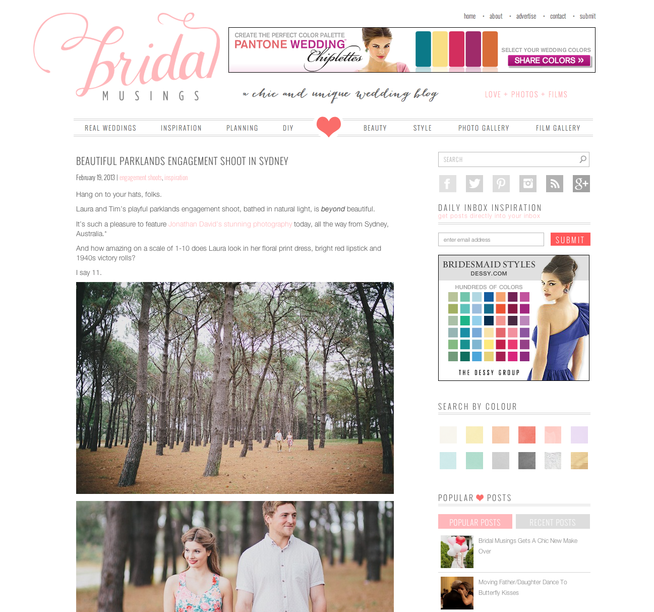 Bridal Musings Engagement Photography Feature