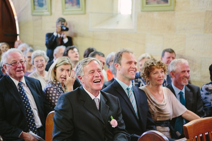 excited father of the bride in wedding ceremony