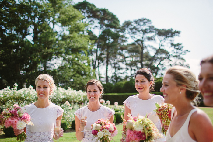 bridesmaids in white in berrima wedding